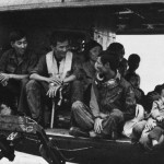 Helicopter with refugees on USS Midway after the fall of Hanoi, 1975