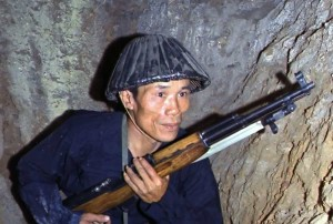 Vietcong soldier holding a rifle 1968
