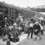 A group of children arrive at Brent station near Kingsbridge, Devon, after being evacuated from Bristol in 1940