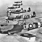 Spitfires flying in formation