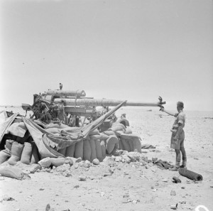 British soldier and tank in North Africa