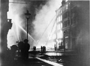 Fire crews working during the London blitz