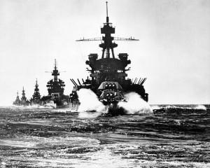 USS Pennsylvania leading a convoy moving into Lingayen Gulf